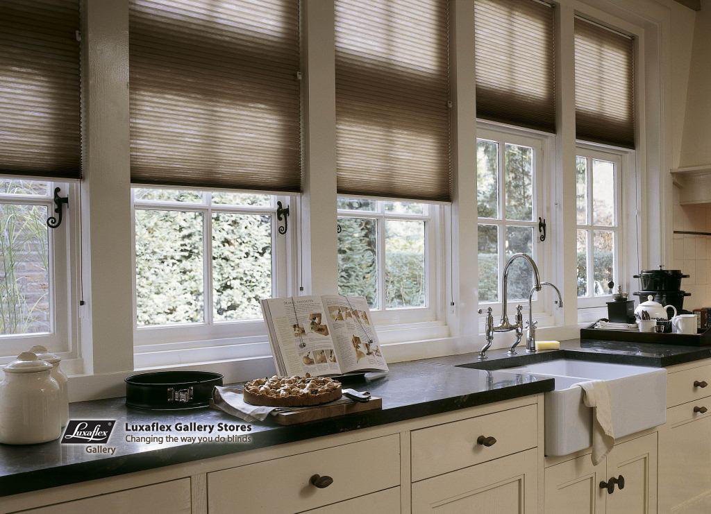 Duette Blinds In A Beige Brown Kitchen  Fuller Decor