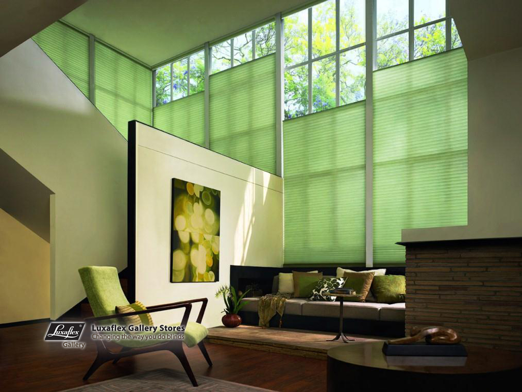 Duette bottom stack blinds on large windows fuller decor for Window coverings large windows